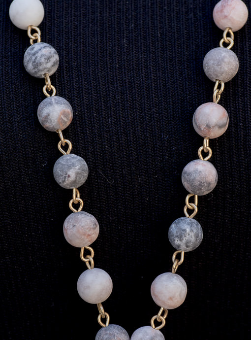 Gold Tone Chain Necklace with Beads And Gold Pendant
