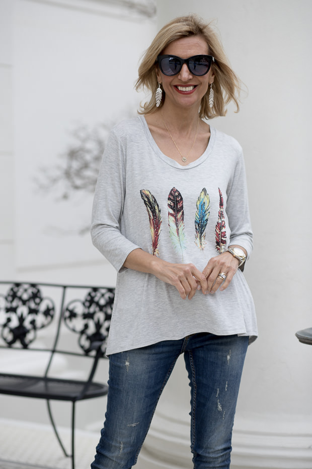 heather gray multi color feather print graphic top