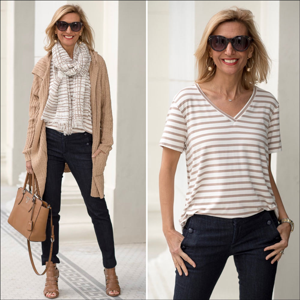Jute Knote Hooded Cardigan With Coco Ivory Stripe V Neck T Shirt