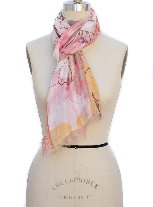 Peach Water Color Painting Scarf Shawl