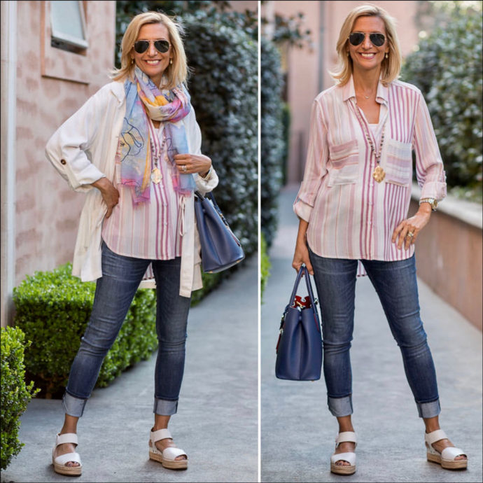 Spring outfit Pinks Whites and Blues for women