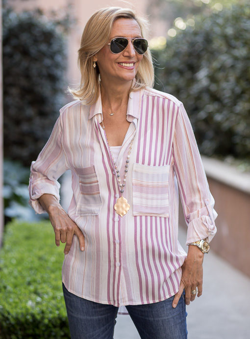 Pink Ivory Stripe Shirt With Pockets