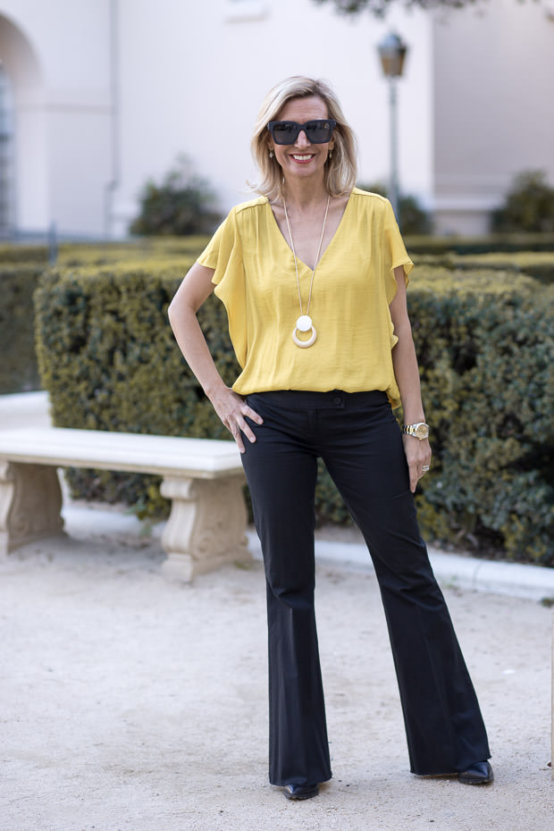 Golden Yellow Florence Sleeve V Neck Blouse for women
