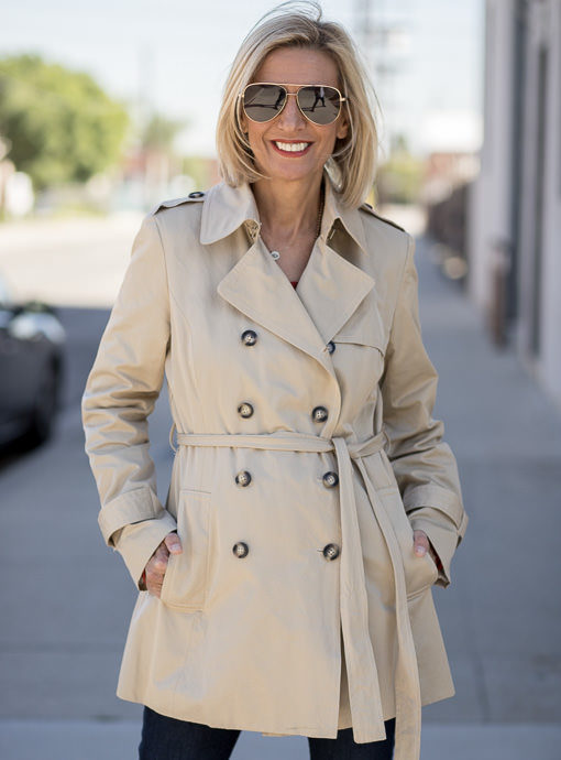 Tan Double Breasted Trench Coat With Belt