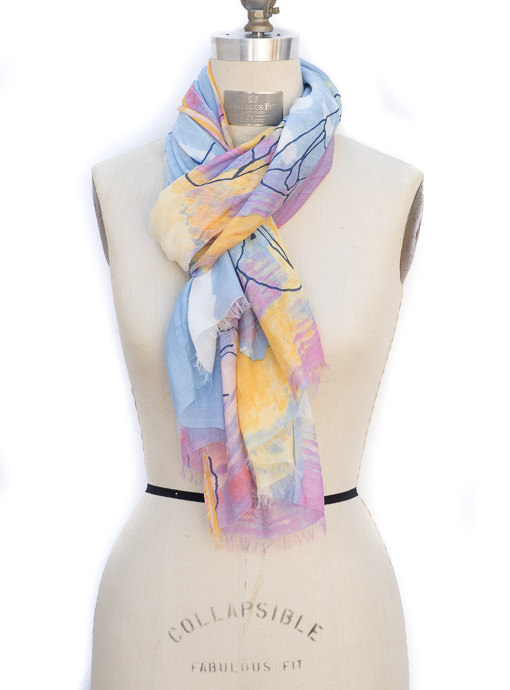 pastel and water color blue painting scarf shawl for women