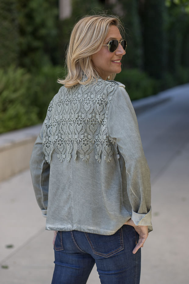 Sage Stone Washed Womens Jacket With Lace back yoke
