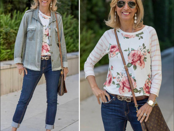Sage Stone Washed Womens Jacket With Floral Stripe T Shirt