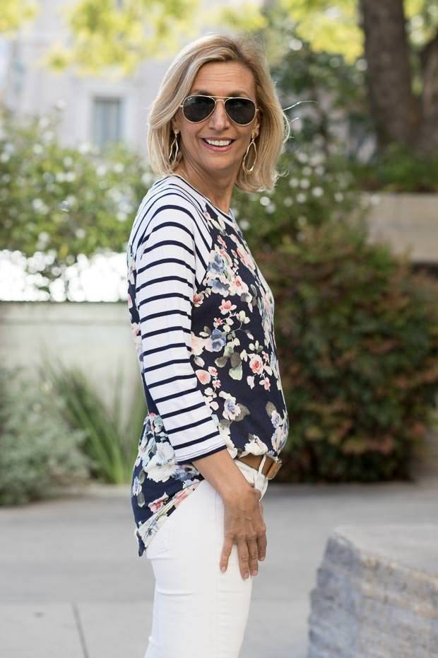 Ivory and navy blue floral stripe t shirt for women