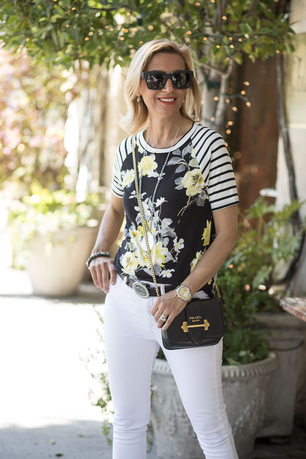 Black Ivory And Yellow Short Sleeve Floral Stripe T Shirt