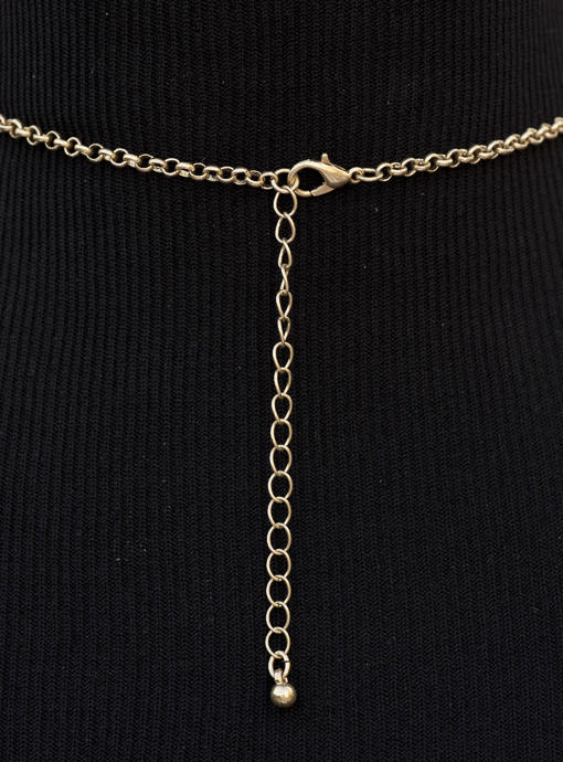 Gold Tone Chain Necklace with Tan Beads And Gold Pendant