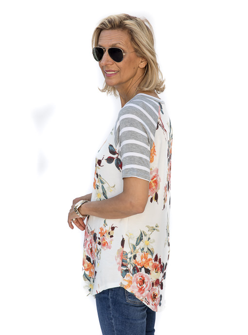 Ivory Gray Orange Short Sleeve Floral Stripe T Shirt