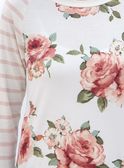 Ivory and Pink Long SLeeve Floral T Shirt For women