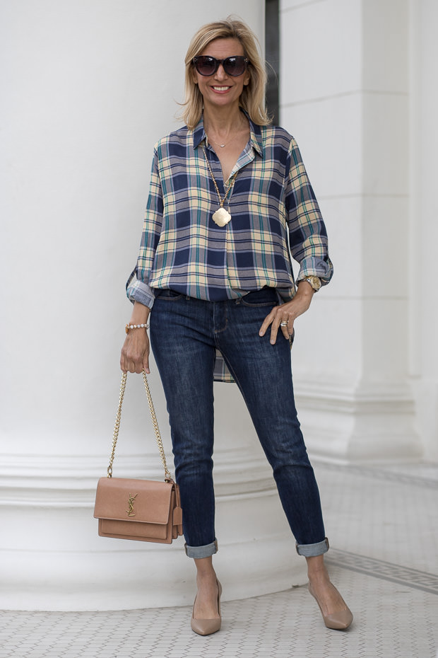 Blue and Tan Plaid Shirt For Women