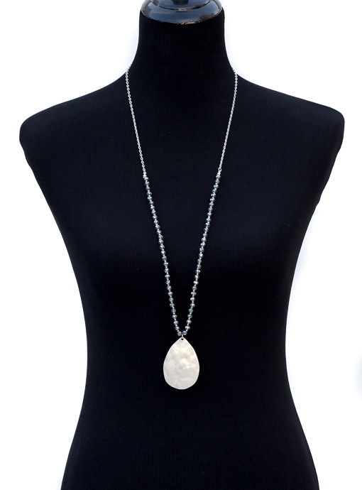 Silver Chain Necklace With Silver Pendant And Beads
