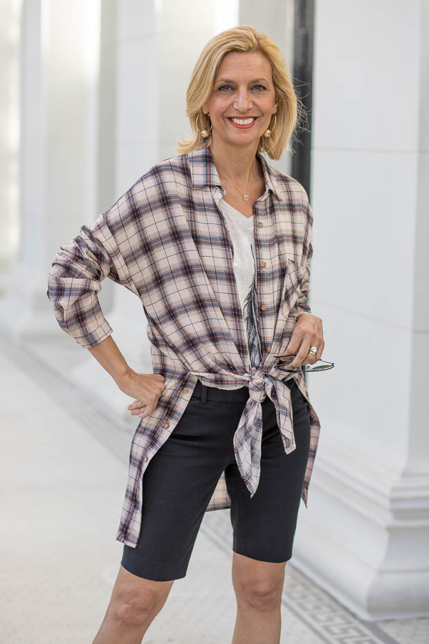 Womens Long Plaid Shirt With Side Buttons