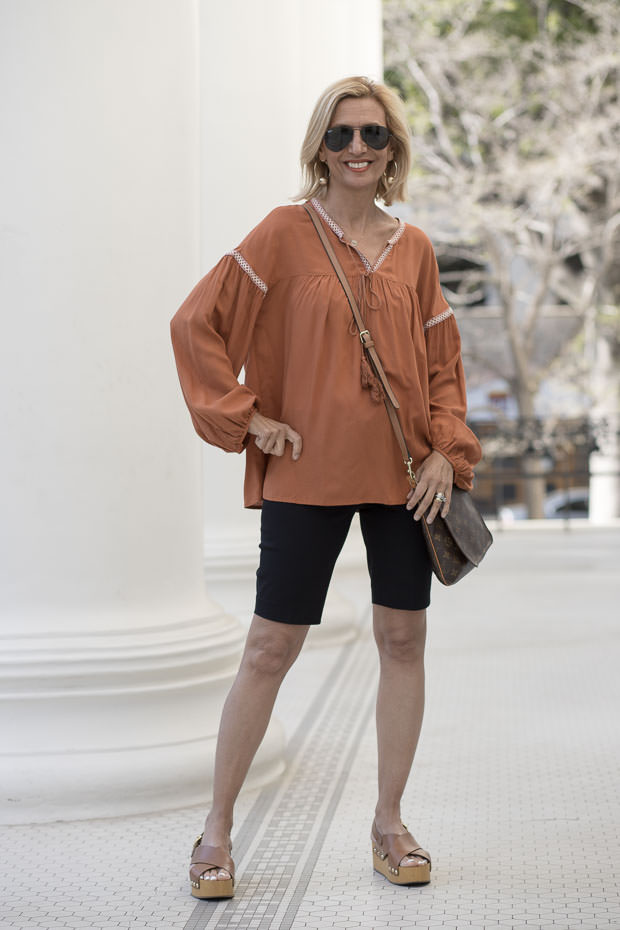 Womens Rust Peasant Blouse With Novelty Stitching