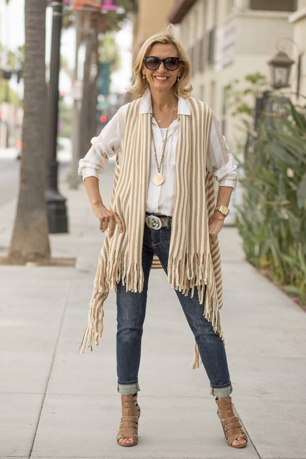 Tan and Ivory stripe long Knit vest with fringe