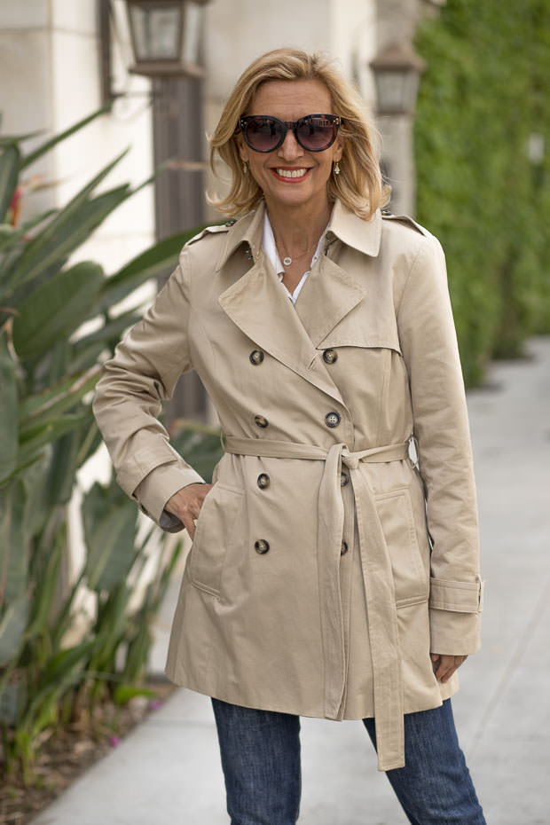 Womens Classic Casual Short Trench Coat belted