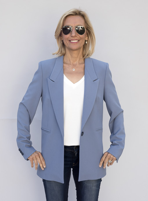 Classic Womens Blazer in A Pale Sky Blue Fully Lined