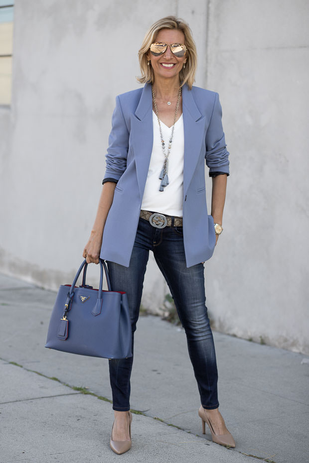 Womens Classic Sky Blue Blazer Styled By Jacket Society