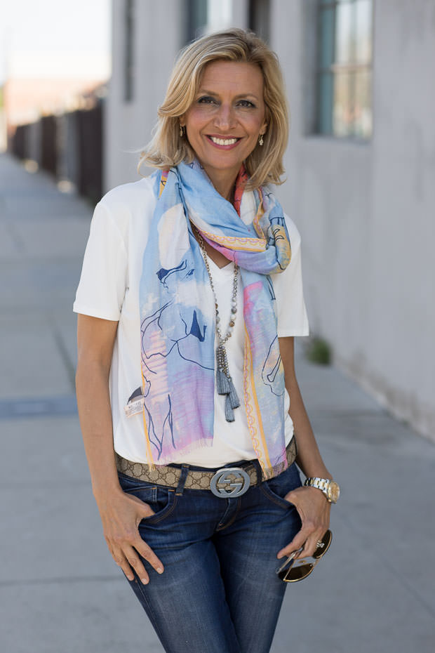 Pastel Water Color Painted Scarf Shawl For Women