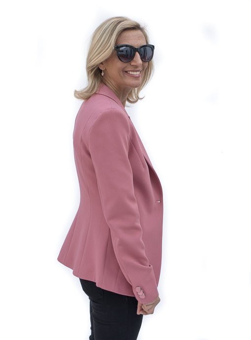 classic womens blazer in a rose crepe