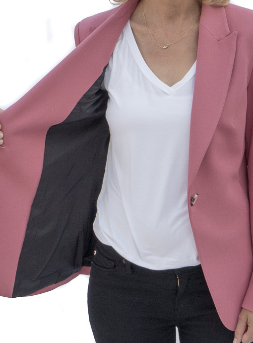 classic womens blazer in a rose crepe fully lined