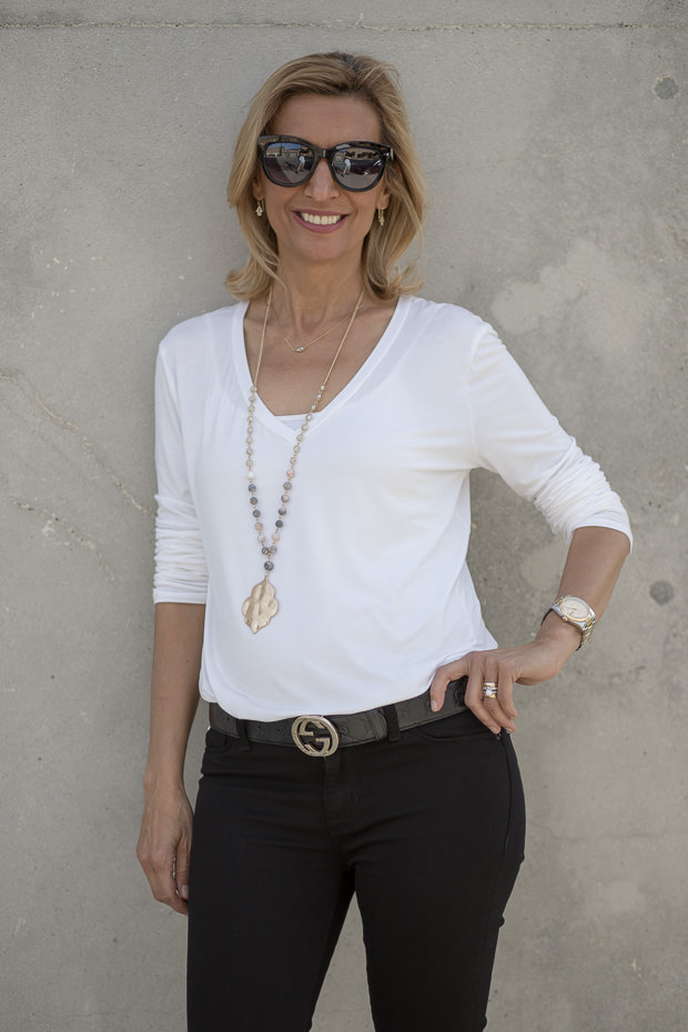 Ivory V neck Long Sleeve Top with Gold Chain and Bead Pendant necklace
