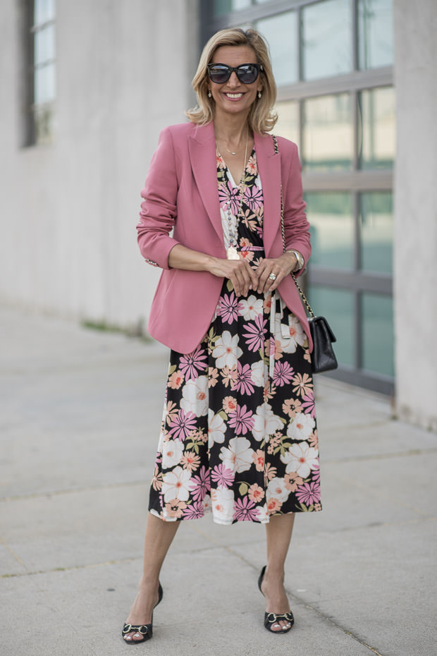 Womens Classic Blazer in a rose crepe fabric styled with a floral dress