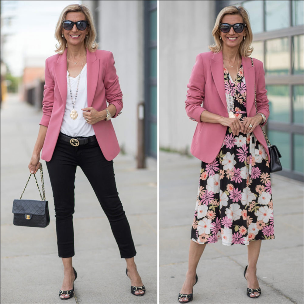Womens Classic fitted Blazer in a beautiful rose crepe styled two ways