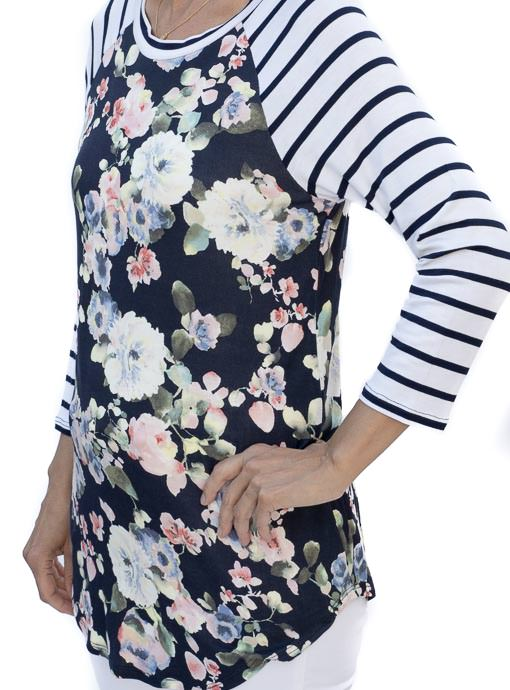 Navy And Ivory Stripe Floral long sleeve T shirt for women