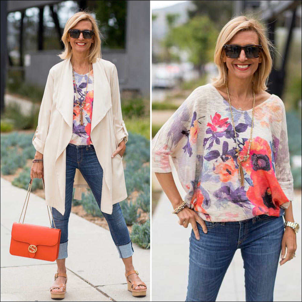 Womens cascading collar duster with floral dolman sleeve top