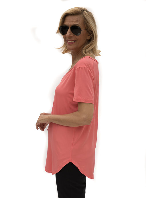 Coral V Neck Short Sleeve Top
