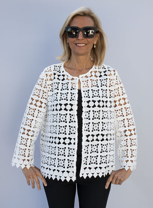 White Lace Cropped jacket For Women