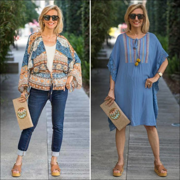 Fun Spring And Summer Looks In Blue Kaftan and Ethnic print top