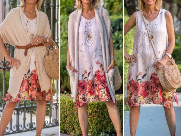fun summer dresses in tans and florals