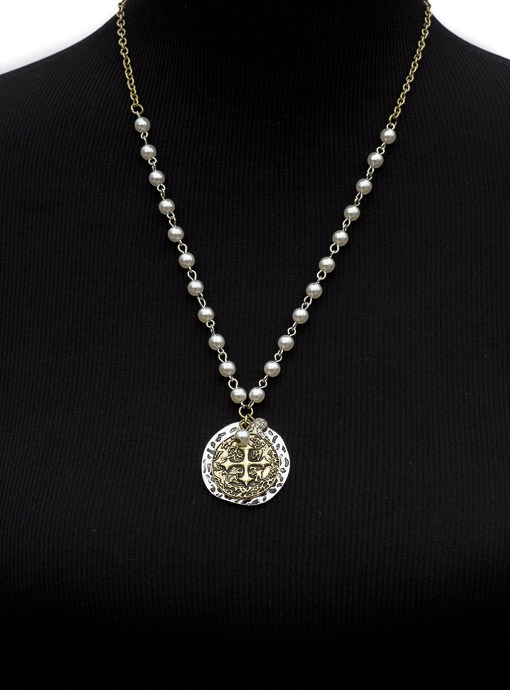 Antique Gold Silver Tone Medallion Necklace with Pearls