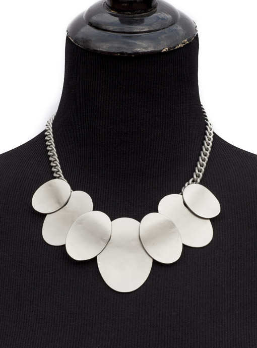 Matt Silver Metal Bib Statement Necklace