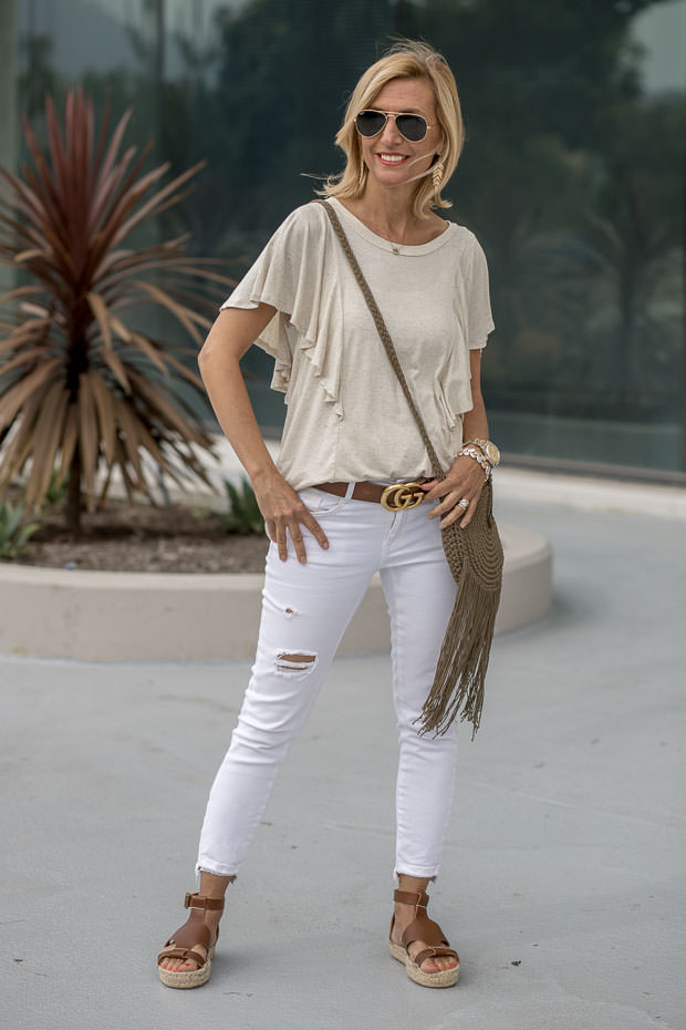 heather tan flounce sleeve knit top with jeans