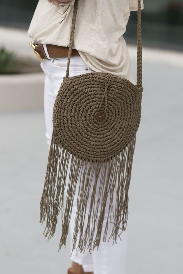 Olive Macrame Knit round handbag for women