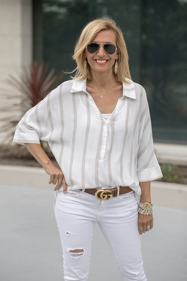 White and tan stripe dolman sleeve top for women