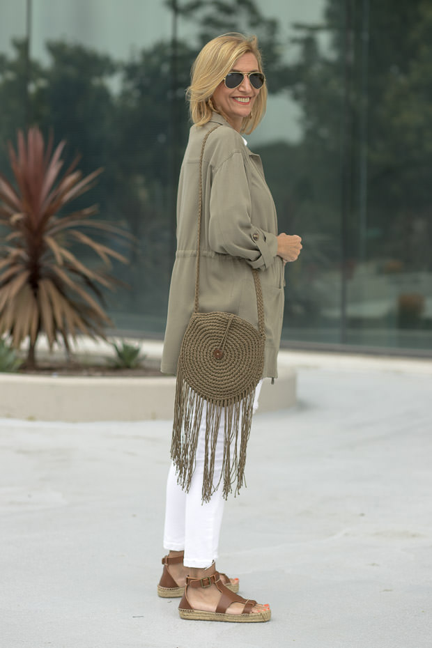 White and tan stripe dolman sleeve top and olive cargo jacket