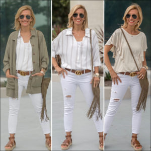 Styling Neutral colors olive two pocket jacket with white jeans