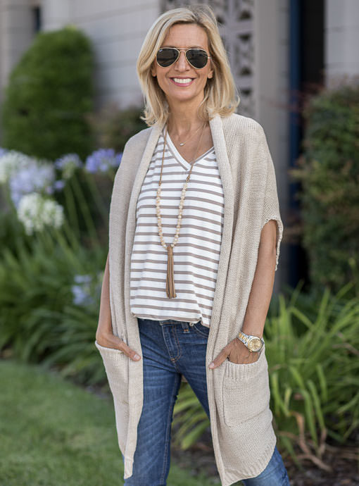 Tan Cap Sleeve Cardigan With Two Pockets