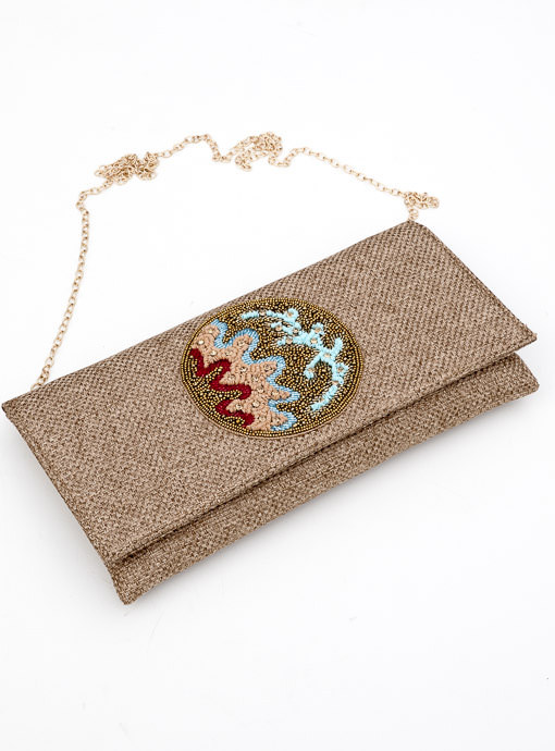 Tan Fabric Clutch For Women with Beaded Applique