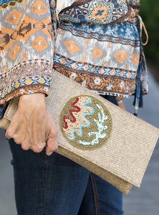 Tan Fabric Clutch With Beaded Applique