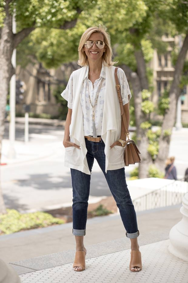 Pretty white and blue print blouse with Ivory cargo vest for women