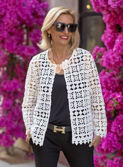 White Lace Cropped Jacket