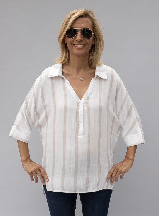 womens dolman sleeve blouse in ivory with tan stripes