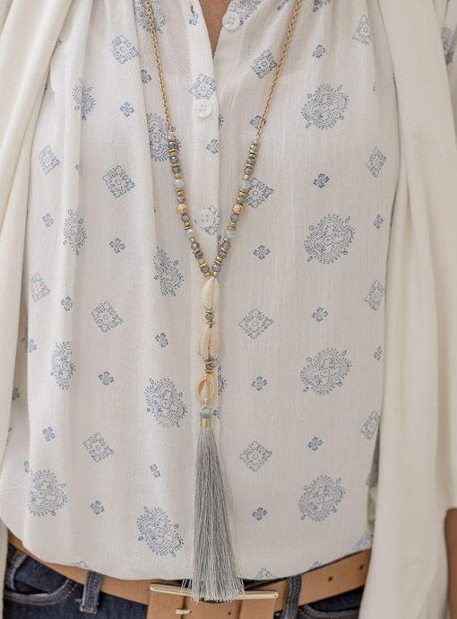 Blue Gray Bead And Shell Necklace With Fringe